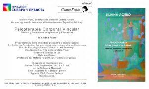 """Lanzamiento de: """"Psicoterapia Corporal Vincular: Género y Relaciones Terapéuticas y Educativas"""", en la ciudad de Bs. As., Argentina."""
